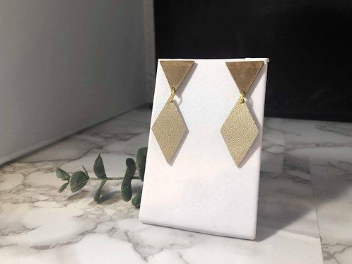 Medium Brown & Matte Gold Geometric Post Earrings