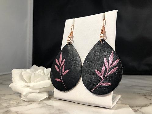 Black Genuine Leather Teardrop Earrings with Metallic Pink Leafs