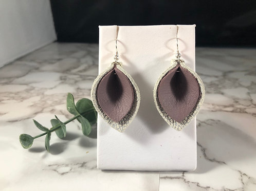 Wisteria Purple & Ivory and Silver Metallic Genuine Leather Earrings