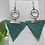 Thumbnail: Light Teal Genuine Leather Triangle & Silver Circle Earrings