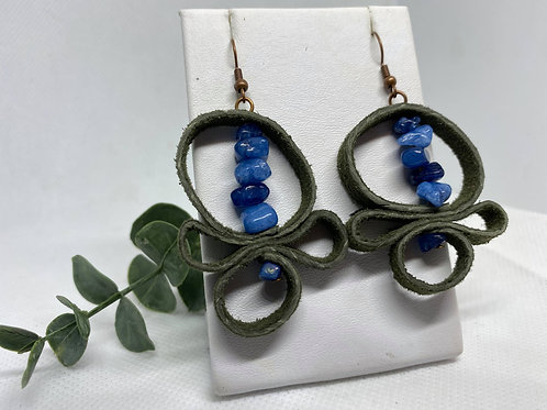 Dark Olive Recycled Suede Odd Shaped Earrings with Blue Chip Beads