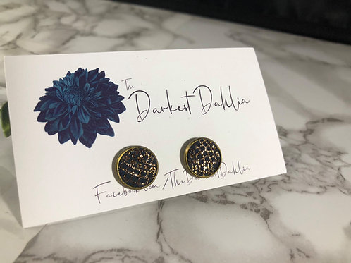 Ultra-Dark Navy & Metallic Bronze Patterned Genuine Leather Studs