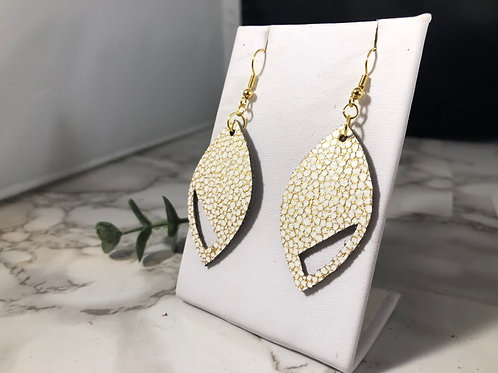 Champagne Bubble Cream & Gold Cut Out Earrings