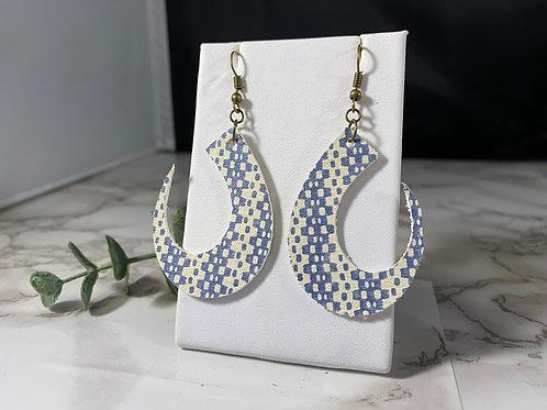 Cream & Denim Blue Patterned Genuine Leather Crescent Earrings