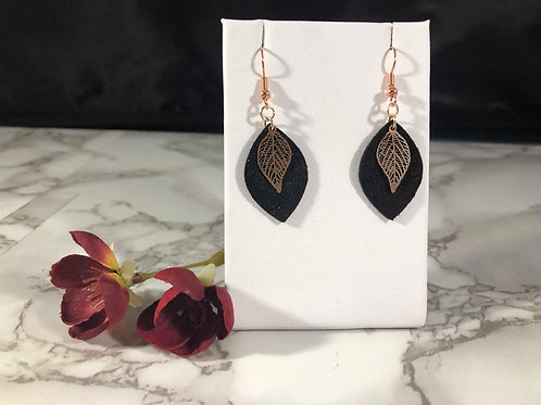 Mini Black Recycled Genuine Suede Earrings with Rose Gold Leaf Pendant