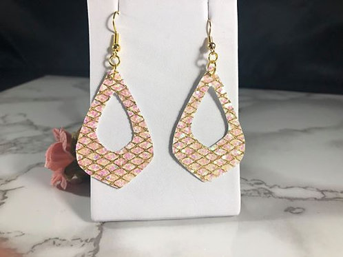 Iridescent Light Pink Glitter Cut-Out Faux Leather Earrings