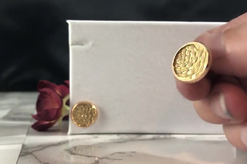 Pebbled Cream & Gold Faux Leather Stud Earrings