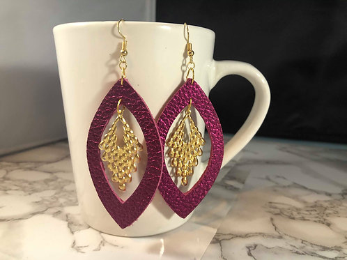 Metallic Hot Pink Genuine Leather & Gold Metal Cut-out Earrings