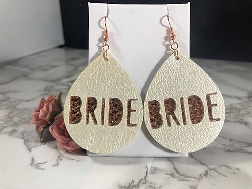 BRIDE White Pearl & Rose Gold Glitter Faux Leather Earrings