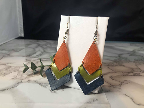 Rusty Orange, Bright Olive Green & Navy Genuine Leather Earrings