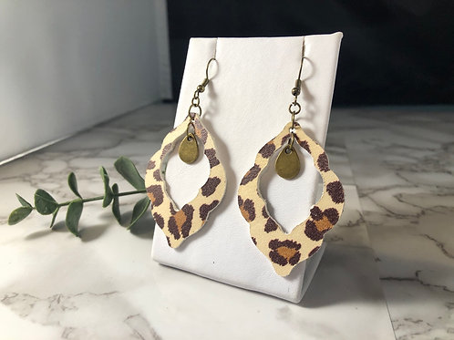 Leopard Print Genuine Leather Lace Cut-our Earrings