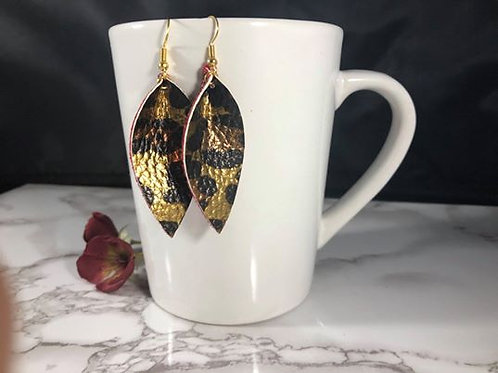 Metallic Gold Leopard Print with Metallic Red Crackle Faux Leather Earrings