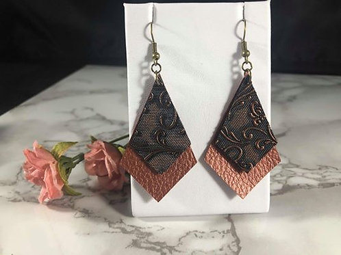 Copper & Black/Copper Textured Faux Leather Earrings