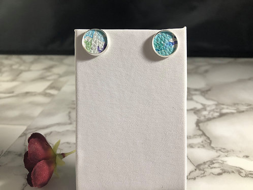 Abstract Turquoise & White Watercolor Faux Leather Stud Earrings