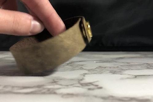 Matte Metallic Antiqued Gold Genuine Italian Leather Cuff Bracelet