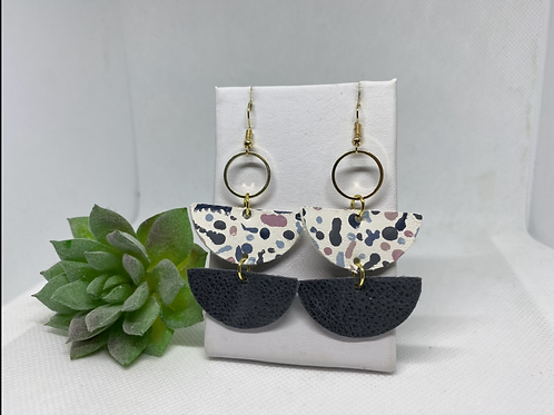 Double Semi-Circle Painted Pattern Genuine Leather Earrings
