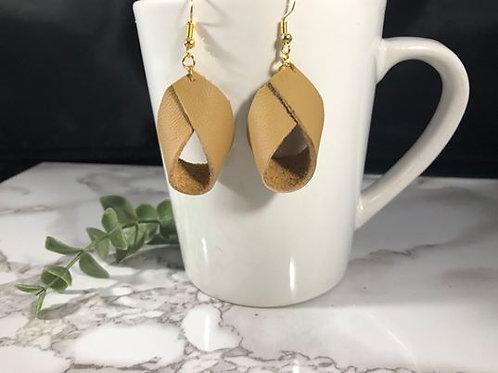 Camel Loop Recycled Genuine Leather Earrings
