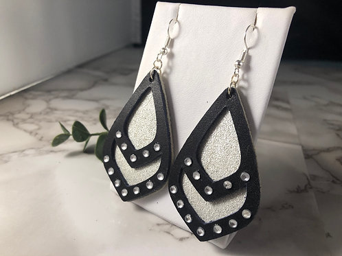 Darkest Night & Sparkly Silver Genuine Leather Earrings with Rhinestones
