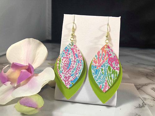 Tropical Print & Lime Green Faux Leather Earrings