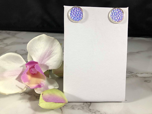 Iridescent Blue/Pink/Purple Faux Leather Stud Earrings