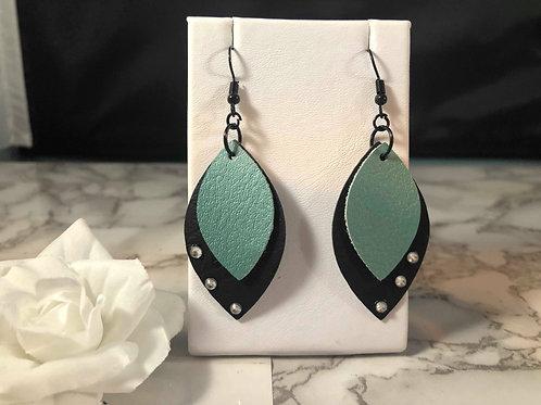 Pearlized Turquoise & Black Faux Leather & Rhinestone Earrings