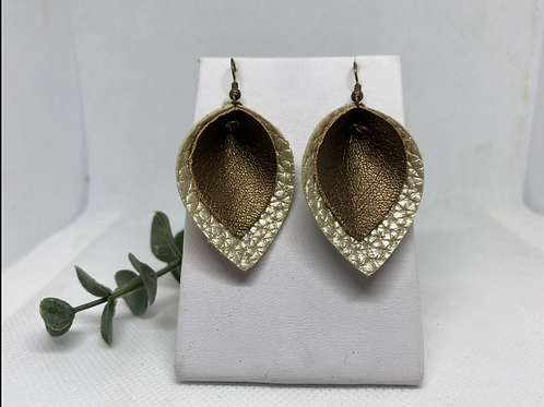 Champagne & Bronze Faux Leather Pinched Petal Earrings