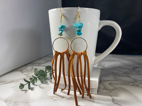 Orange-Brown Genuine Leather Fringe Earrings with Turquoise & Gold