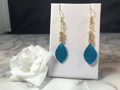 Blue & Gold Genuine Leather Leaf Earrings