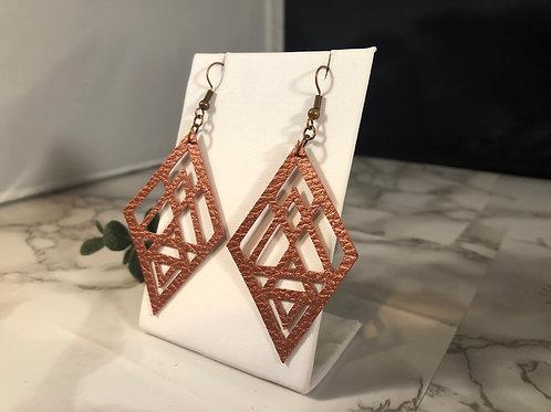 Matte Metallic Copper Diamond Cut Out Faux Leather Earrings
