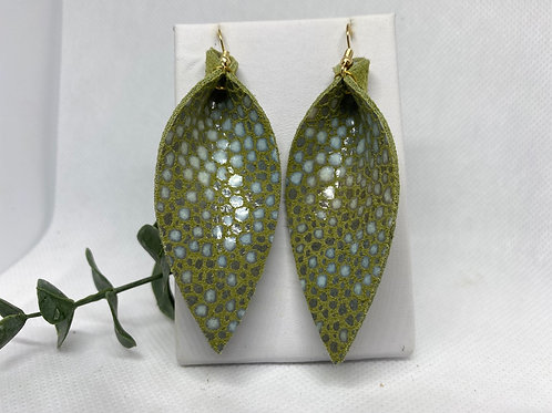 Spring Green Genuine Leather Earrings with Glossy Blue Speckles