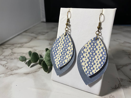 Denim Blue & Cream Patterned Layered Genuine Leather Earrings