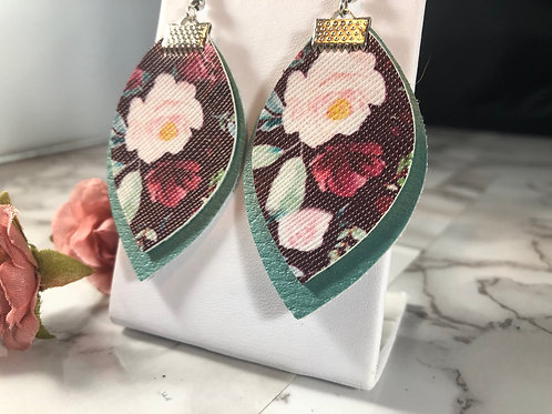 Black & Blush Pink Floral with Pearlized Light Blue Faux Leather Earrings