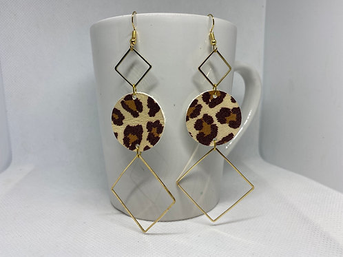 Leopard Print & Gold Metal Geometric Genuine Leather Earrings
