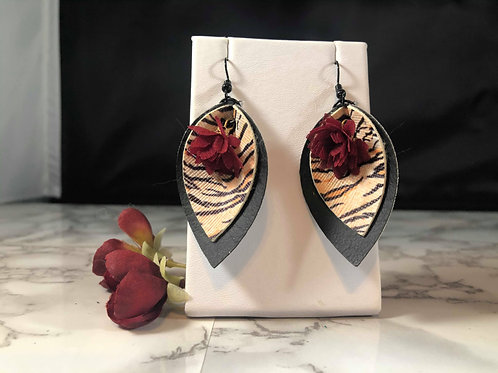 Tiger Stripe & Black Faux Leather Red Organza Rose Pinched Petal Earrings