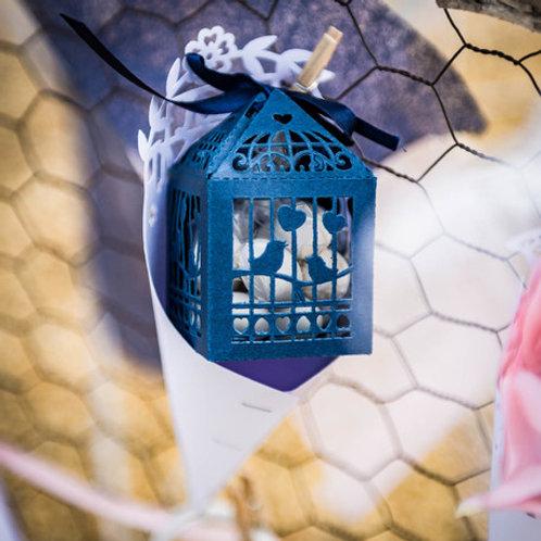 Contenant dragées cage à oiseaux