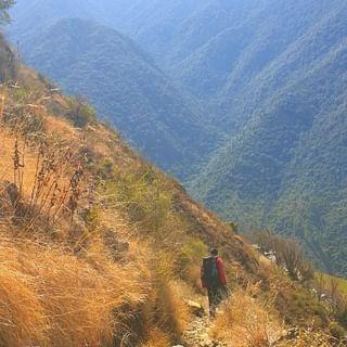 Man Trekking in the mountains