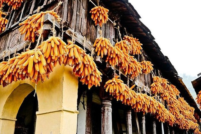 A house decorated with corn cobs at Sainji Village