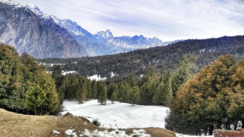 Snow melting on mountains