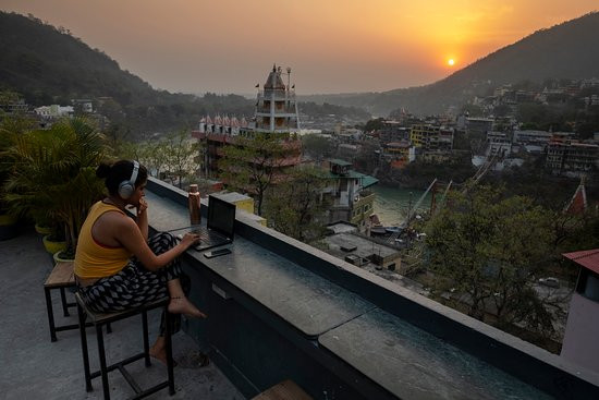 sunset and workation in Rishikesh