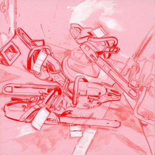 Pile of broken down chainsaws