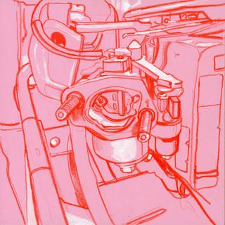 Carburetor on a vibratory plate compactor