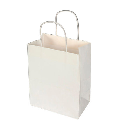 Paper Bag White Kraft 20cm x 15cm x base 8cm