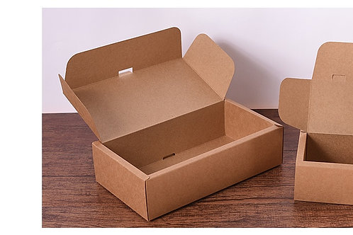 Die-cut open flap box with thick sides
