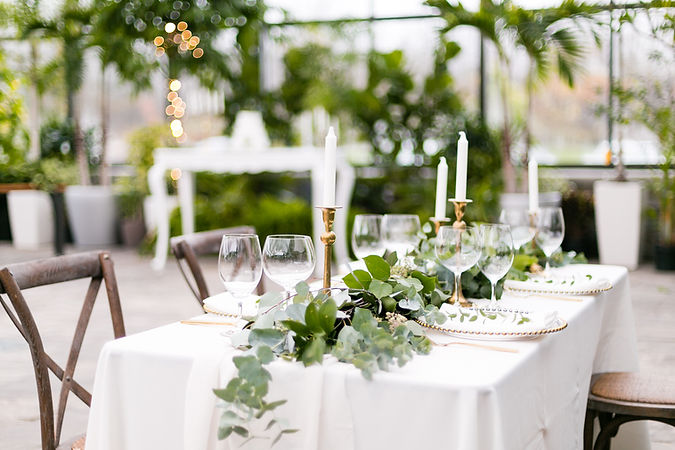 Wedding table setting, spring styled wedding shoot, tropical, elegant, Aquatopia Conservatory, Ottawa, wedding venue