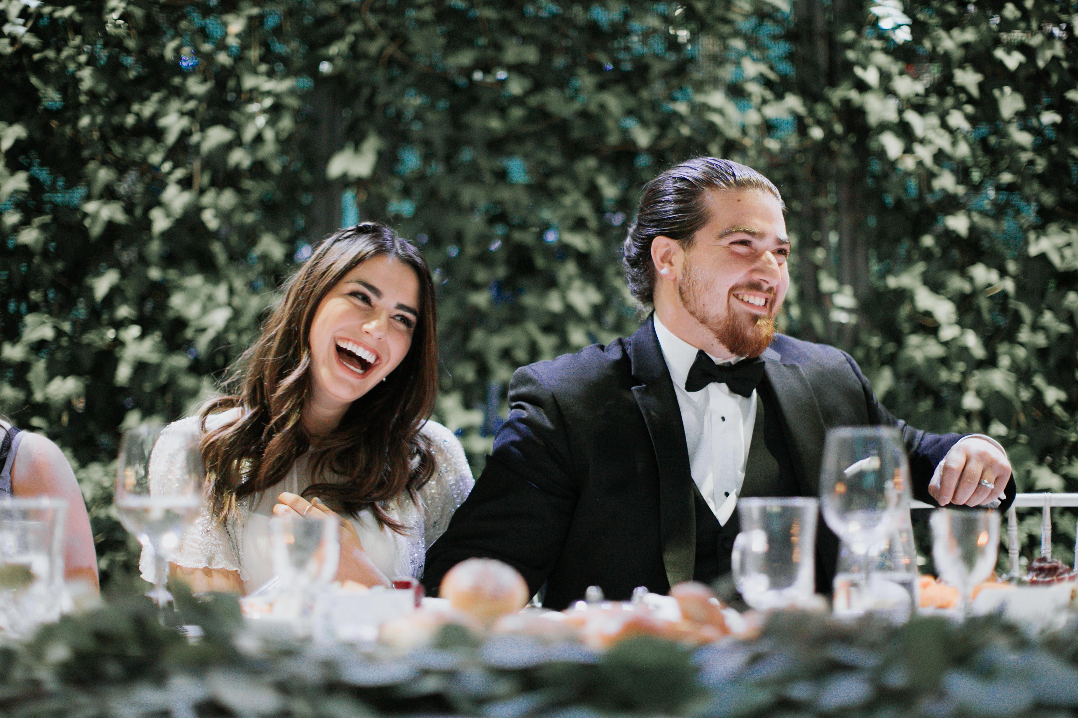 Happy wedding couple, jewish dinner