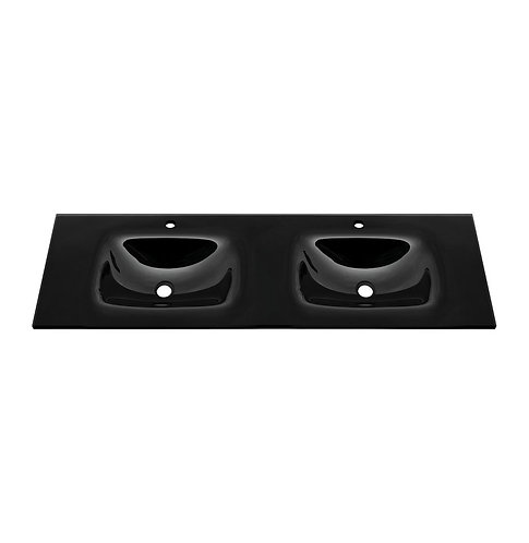 MAMBO Black 1500 Tempered Glass Double Basin-Top