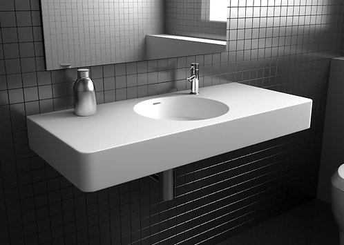 ENCANTO 1200 Solid Surface Wall-Hung Basin, Centre Bowl