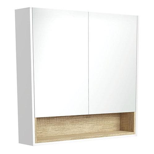 900 Matte White Undershelf Mirror Cabinet, Scandi Oak Insert