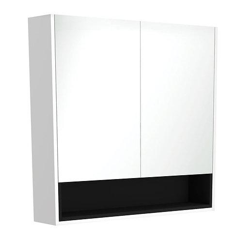 900 Matte White Undershelf Mirror Cabinet, Matte Black Insert