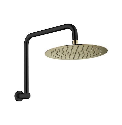 KAYA Gooseneck Shower Arm Set, Matte Black, Urban Brass Head